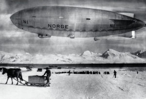 The airship Norge floats above Spitzbergen, Norway, in May 1926, before an expedition over the North Pole by Norwegian explorer Roald Amundsen. On May 11, 1926 Amundsen and his crew, including Italian Umberto Nobile who constructed and piloted the ship, departed in the Norge. Seventy-two hours later they landed at Teller, Alaska, becoming the first people to fly over the pole and confirming there was no land there. (AP Photo)